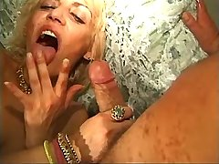 Blonde lewd mature gets fuck in all holes in group