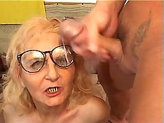 Aged mature gets facial after hot fuck from behind