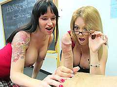 Angie Niore and Charlee Chase Handjob in School