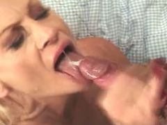 Lusty grandma gets cumload in mouth